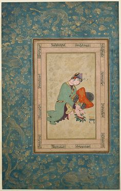 This painting is a rare depiction of a young woman applying henna to her feet, a ritual associated with rite of passage celebrations, specifically marriage, in Iran and surrounding regions. The subject chosen by this unknown artist reflects the increasing interest of Safavid painters of this period in depictions of everyday people and events.