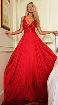 New Fashion Red V-Neck Sequined 2016 Evening Gowns Backless Long Wedding Party Dresses A Line Cheap Bridesmaid Dresses Floor Length