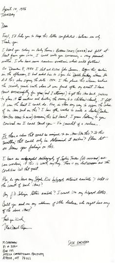 letter from Mark Chapman about the value of a signed John Lennon album