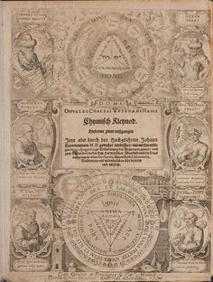 The title page is an elaborate symbolic engraving (by Jan Sadeler), with portraits of Hermes Trismegistus, Morienus, Lull, Geber, Roger Bacon and Paracelsus from 'Hermetischer Probier Stein..', (Hermetic Touchstone) 1647, by Oswald Croll (Kroll or Crollius)