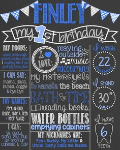 Chevron Blue First Birthday Chalkboard Poster // Boy 1st Birthday Chalk Board // Custom Printable // Boy or Girl // Chevron Bunting // Grey by PersonalizedChalk on Etsy https://www.etsy.com/listing/219938375/chevron-blue-first-birthday-chalkboard