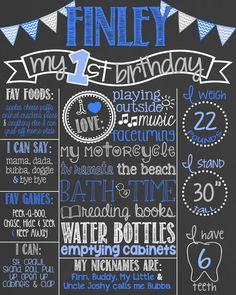 Chevron Blue First Birthday Chalkboard Poster // Boy 1st Birthday Chalk Board // Custom Printable // Boy or Girl // Chevron Bunting // Grey by PersonalizedChalk on Etsy https://www.etsy.com/listing/219938375/chevron-blue-first-birthday-chalkboard