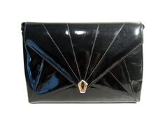 Salvatore Ferragamo 1980's black patent leather clutch / hand-bag with gold metal hardware: