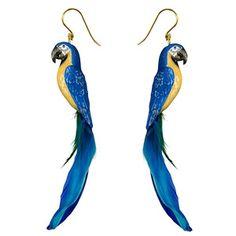 Parrot Earrings, Blue; Wild and Wonderful Bijoux