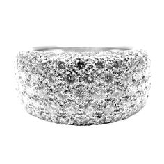CARTIER Diamond White Gold Wide Band Ring | From a unique collection of vintage band rings at http://www.1stdibs.com/jewelry/rings/band-rings/