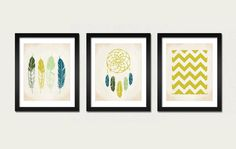 christmasinjuly Native Set 3 Prints Feathers by EinBierBitte, $38.00