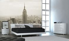 SCALE. Interior, Beautify Interior with Some Amazing Mural in Large Scale: Lovely Living Room With New York City View Wall Mural Theme
