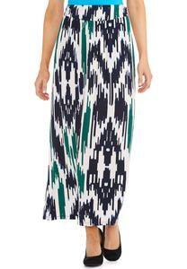 Ikat Print Wide Waistband Maxi Skirt-Plus