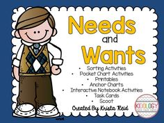 Pack of Wants and Needs Activities.  Makes a great addition to your social studies program.  Great for Kindergarten, Grade one or Grade Two.   $