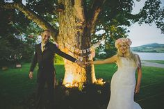 'A Bright and Colourful Wish Tree Wedding With A Pretty Flower Crown And Polka Dot Shoes' on www.lovemydress.net.  Photography http://www.paulagillespie.com/