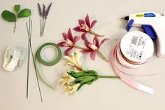 Floral wire, tape and elastic wristlets are available on the floral supply aisle of craft stores.