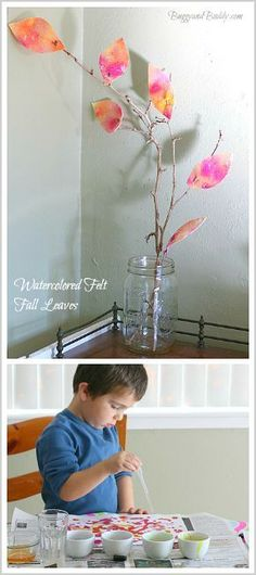 Fun Fall Art Project for Toddlers, Preschoolers, and on Up: Felt Leaves Painted with Watercolor ~ BuggyandBuddy.com