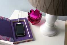DIY: Book Cell Phone Charging Station // Caught On A Whim by Caught On A Whim, via Flickr