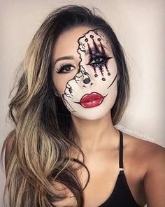 Scary Half Face Clown Halloween Makeup Look More