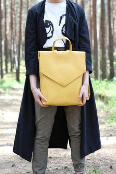 Minimal backpack Yellow backpack Vegan leather backpack