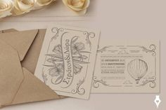 Retro stylish προσκλητήριο γάμου σε μορφή carte postale. #προσκλητήριο #γάμου #retro #cartepostale #wedding #invitation