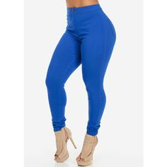 Royal Blue One Button High Waist Skinny Jeans (25 CHF) ❤ liked on Polyvore