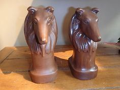"""RARE Frankoma Pottery """"COLLIE"""" bookends  B Frazier vintage and Beautiful !!"""