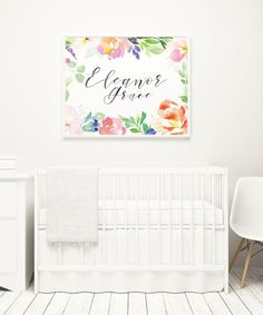 Custom Baby Name Print Soft Florals Nursery Above the Crib
