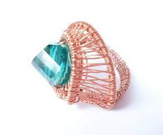 chunky wire wrapped beaded copper ring aquamarine by 2wired, $50.00