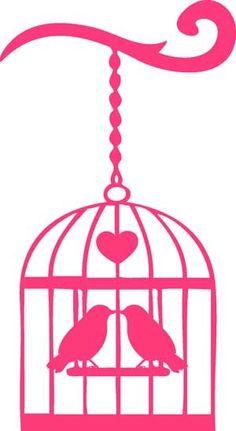 Vogeltjes in kooi silhouette  | Birds in cage image silhouette