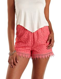 Crochet & Lace High-Waisted Shorts: Charlotte Russe