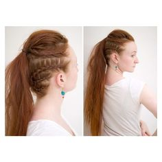 Lagertha Vikings Warrior Ponytail - Silvousplaits Hairstyling ❤ liked on Polyvore featuring accessories, hair accessories, elastic hair ties and ponytail hair ties