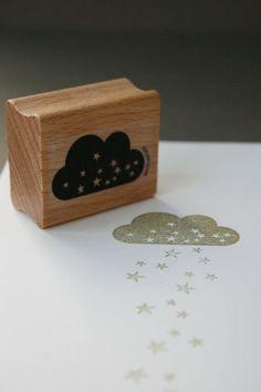 Stempel mit Sternen und Wolke, Weihnachten / cute little stamp, clouds and stars, christmas decoration by perlenfischer via DaWanda.com