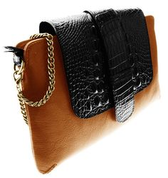 Valenz Handmade Tan Leather & Embossed Croc Pouch w/ Wristlet