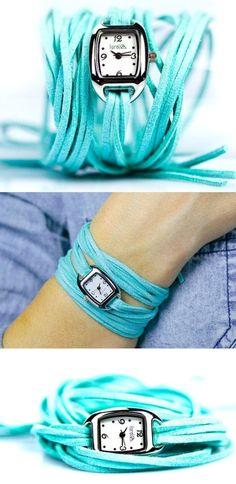 Turquoise Fringe Wrap Watch. I LOVE this!!!! Can I make this?? Eek!!!