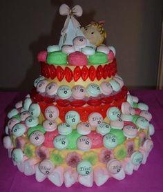 Candy cake with lolly, made by myself.