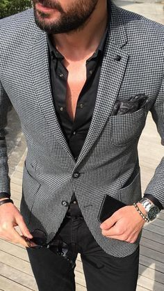 Men's charcoal houndstooth sport coat/ blazer over a white is shirt. Get your very own from our talented design team at Giorgenti New York. Blazer Outfits Men, Mens Fashion Blazer, Stylish Mens Outfits, Suit Fashion, Fashion Shirts, Fashion Outfits, Moda Formal, Designer Suits For Men, Jackett