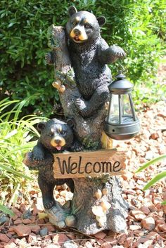 New Black Bear Welcome Solar Garden Lantern Light Statue Sculpture Figurine: