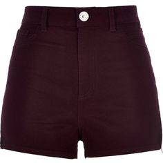 River Island Berry high waisted Nori shorts (38 BRL) ❤ liked on Polyvore featuring shorts, bottoms, short, pants, purple, sale, tall shorts, high waisted zipper shorts, short shorts and summer shorts
