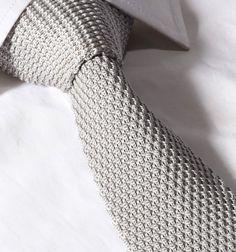 Uomo 6CM Slim A maglia Cravatta - Grigio Argento Waffle Skinny Tessuto • EUR…