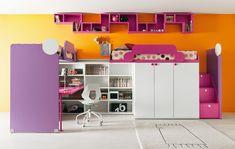 Battistella Klou XL loft bed 2 - Growing Your Baby Girl Room, Girls Bedroom, Conception 3d, Cool Beds For Kids, Childrens Bedroom Furniture, Furniture For You, Dream Rooms, Kid Beds, Bunt