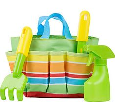 Let your little one play pretend-or even get out into the real garden with you!-with Melissa & Doug's kid-friendly garden tote-and-tool set. Tool Tote, Garage, Melissa & Doug, Tote Pattern, Imaginative Play, Outdoor Play, Pretend Play, Fine Motor Skills, Games For Kids