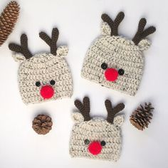 Rudolph The Rednosed Reindeer, Kids Beanies, Crochet Baby Hats, Baby Kids, Super Cute, Christmas Ornaments, Handmade, Rudolph Red Nosed Reindeer, Hand Made