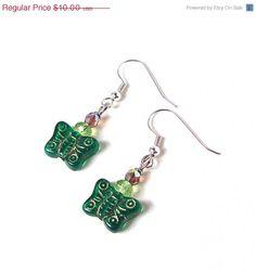 ON SALE Grass green butterfly earrings  by sparklecityjewelry