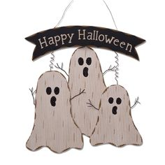 sign features a trio of wooden ghosts with metal hands and the words happy halloween