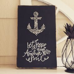 """Hebrews 6:19 has been a theme of mine this year. This String Art Anchor on reclaimed wood is approx 16"""" tall and 10"""" wide. The picture is of the original art wo"""