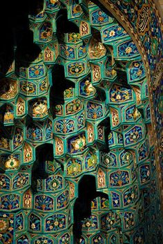 Blue tiles on the facade of the St. Petersburg Mosque, Russia.