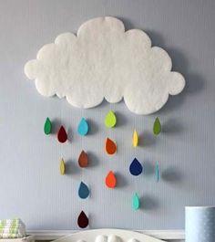 Decorações Modernas: Decoração com feltro - Nuvens de feltro