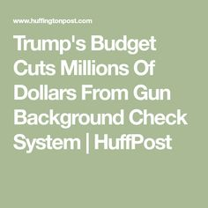 Trump's Budget Cuts Millions Of Dollars From Gun Background Check System | HuffPost