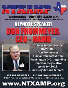 NAMB CEO Don Frommeyer speaks at NTXAMP Luncheon on Apr 8, 2015.