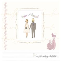 Wedding Gifts For Bride, Wedding Anniversary Gifts, Wedding Groom, Bride Groom, Couple Portraits, Wedding Portraits, Wedding Illustration, Yellow Daisies, Newlywed Gifts