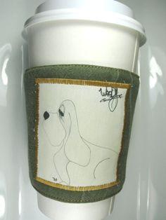 Woody the Basset Hound Coffee Cozy by CreamNoSugar on Etsy, $9.50