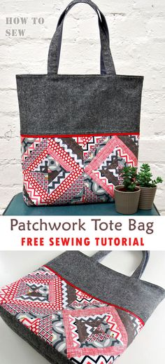 Patchwork Tote Bag Tutorial Patchwork Tote Bag Tutorial Patchwork Tote Bag Tutorial ~ This DIY tote bag is a quick and simple weekend project, and shows you how to mix fashion and quilting to create one stylish tote bag. Bag Patterns To Sew, Tote Pattern, Sewing Patterns, Wallet Pattern, Tote Tutorial, Patchwork Tutorial, Diy Tutorial, Diy Tote Bag, Fabric Tote Bags