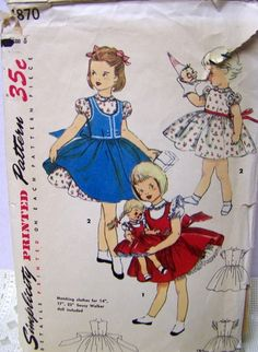 SIMPLICITY 1870 MATCHING GIRL'S & DOLL DRESS
