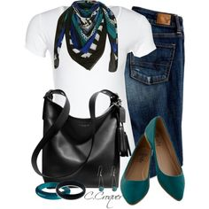 """White Shirt + Scarf"" by ccroquer on Polyvore"